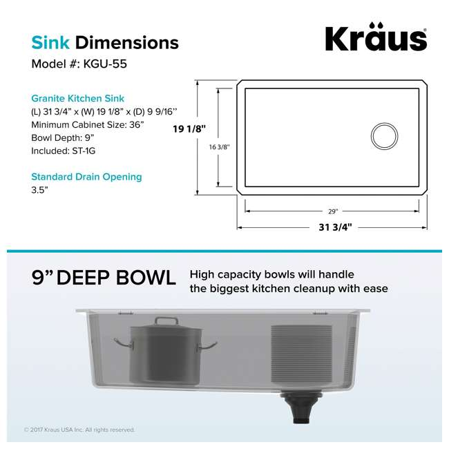 KGU-55GREY Kraus Forteza 32-Inch Single Bowl Kitchen Sink Set, Grey (2 Pack) 3
