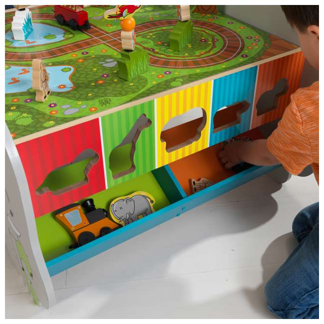 17508 KidKraft Kids Toddler Wooden Zoo Train Play Table Activity Station with Storage 7