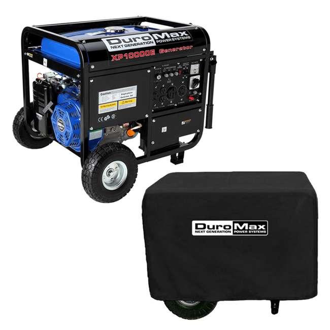 XP10000E + XPLGC DuroMax 10000 Watt Portable Gas Generator & Generator Cover, Black