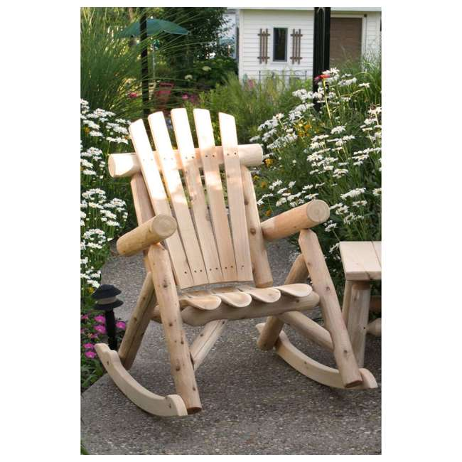CF1125 Lakeland Mills Country Cedar Log Wood Outdoor Porch Patio Rocking Chair, Natural 1