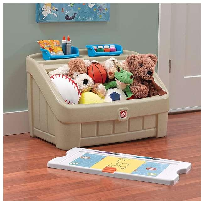 845500 Step2 2-In-1 Kids Organizer Play Toy Box Chest and Art Lid Storage Bin, Tan 3