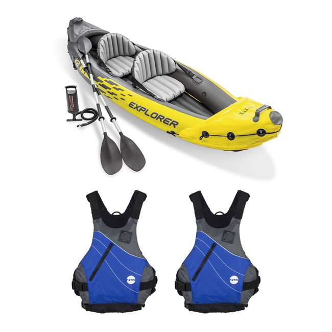 68307EP + 2 x NRS_40034_01_104 Intex Explorer Inflatable Kayak with Air Pump & Large XL Life Jacket (2 Pack)