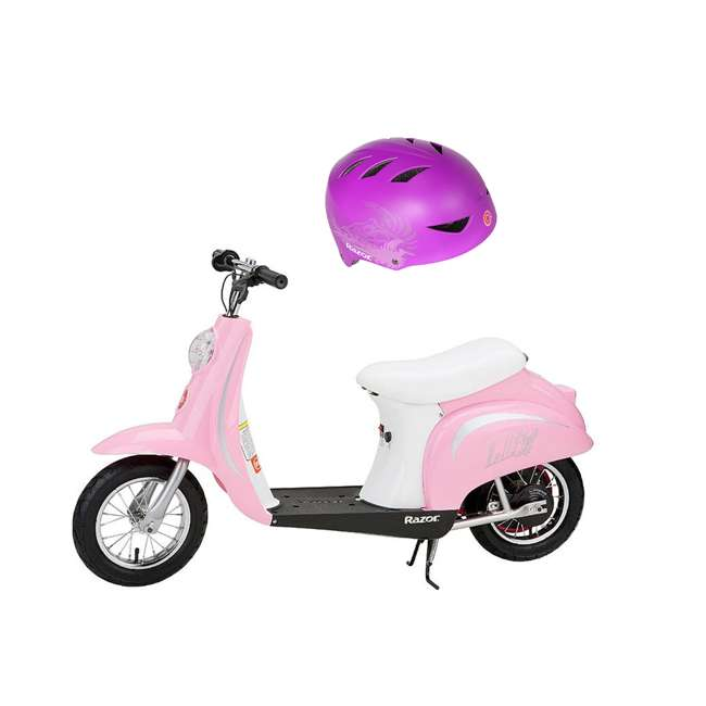 15130610 Razor Pocket Mod Miniature Euro Kids Electric Retro Scooter and 2 Cool Helmet