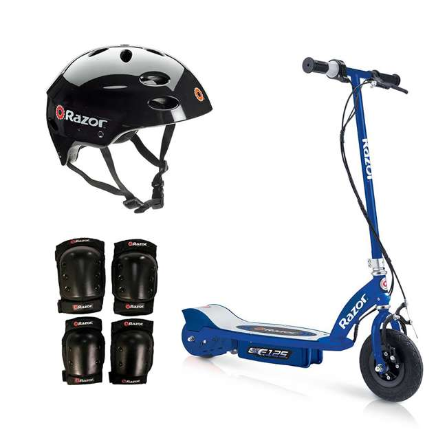 13111141 + 97778 + 96784 Razor Motorized Rechargeable Blue Electric Scooter w/ Black Helmet & Safety Set