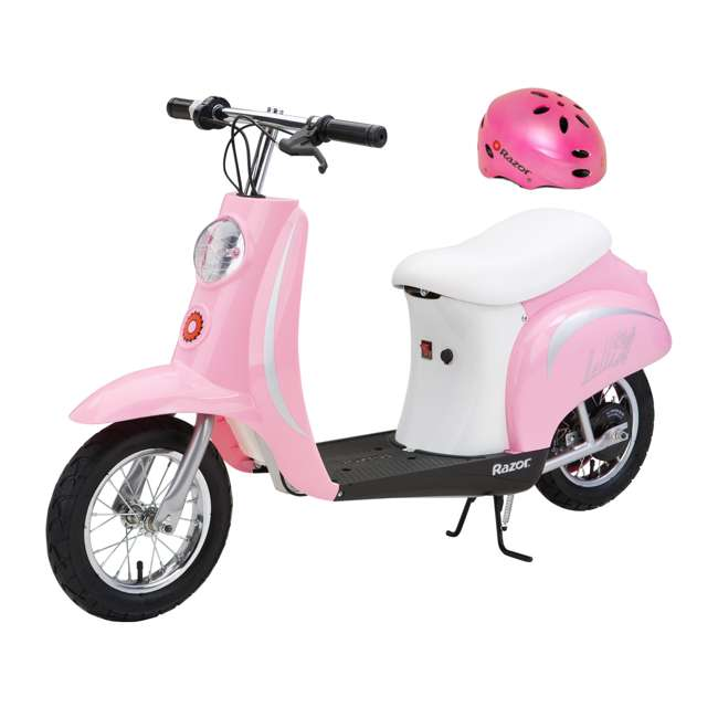 15130610 + 97783 Razor Pocket Mod Bella Electric Scooter & Youth Helmet (Pink)
