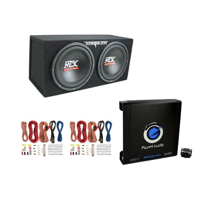 "TNE212D + AC15001M + 2 x AKS8 MTX TNE212D 12"" 1200W Dual Car Subwoofers + Box + Planet Amp + Kit"