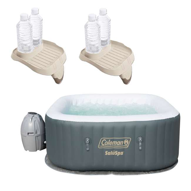 15442-BW + 2 x 28500E Coleman SaluSpa 4 Person Portable Inflatable Hot Tub w/ Cup Holder (2 Pack)