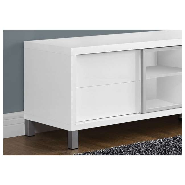 VM-2537 Monarch Specialties 70 Inch European Style Television Stand Media Center, White 3