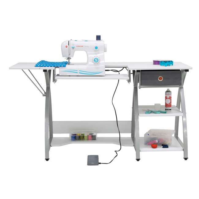 STDN-38018 Sew Ready STDN-38018 Venus Sewing Machine Craft Table Computer Desk, Silver 8