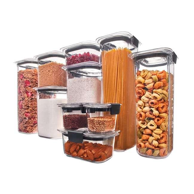 1994254 Rubbermaid Brilliance 10 Piece Plastic Food Storage Container Set w/ Lids, Clear 1
