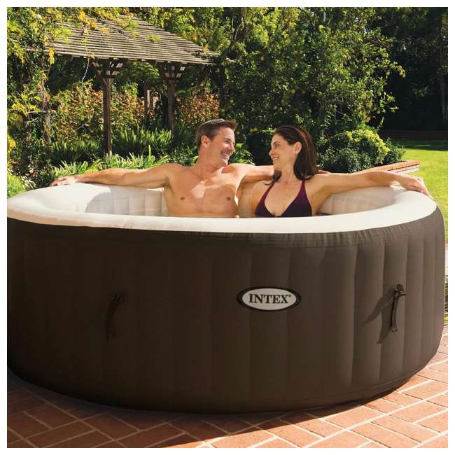 28403VM + 28508E Intex PureSpa 4-Person Inflatable Bubble Jet Portable Hot Tub with Bench Add-On  6