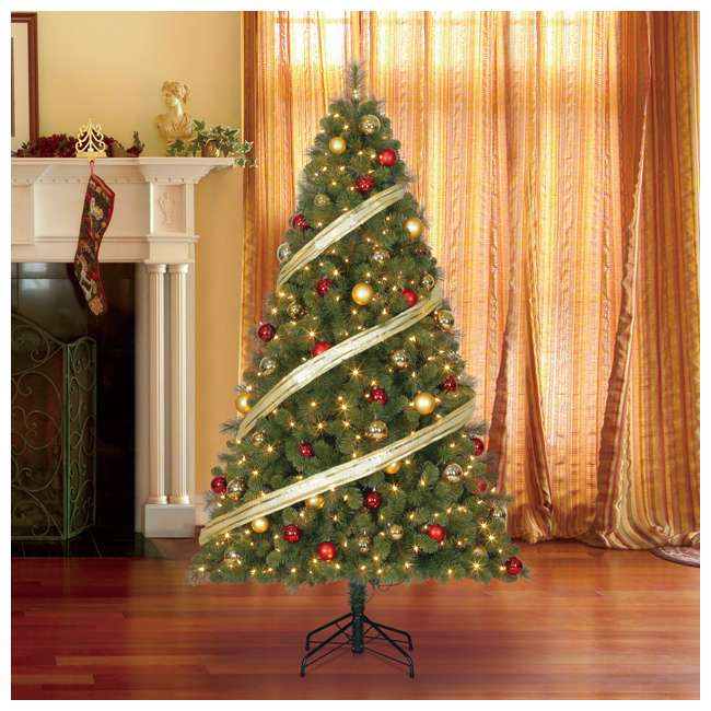TG70M3W92D00 + GX1623U22F23 Home Heritage 7 Foot Artificial Cascade Pine Christmas Tree with Rotating Stand 3