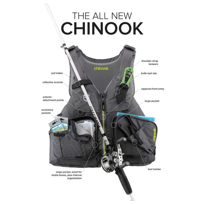 NRS_40009_04_101 NRS PFD Chinook Unisex Fishing Lifejacket, Charcoal, Small/Medium 3