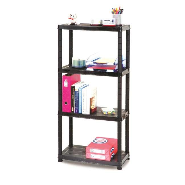 12004B-S Ram Quality Products Primo 12 x 4 inch 4 Tier Plastic Storage Shelves, Black 2