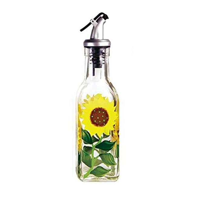 GH-39152 Grant Howard 39152 Hand Painted Sunflowers Glass Oil Vinegar Cruet Bottle, 6 Oz