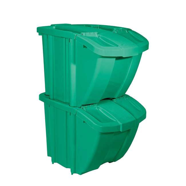 BH18GRN2 + BH18BLUE2 Suncast Stackable Recycling Containers with Lids, Green (2 Pack) & Blue (2 Pack) 1