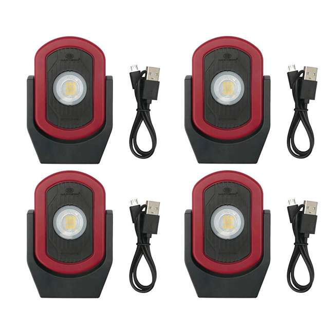 4 x MXN00810 Maxxeon MXN00810 WorkStar Cyclops USB Rechargeable LED Work Light, Red (4 Pack)