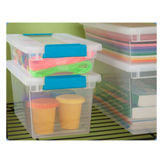 12 x 19618606-U-A Sterilite Small File Clip Box Clear Storage Tote Container (Open Box) (12 Pack) 3