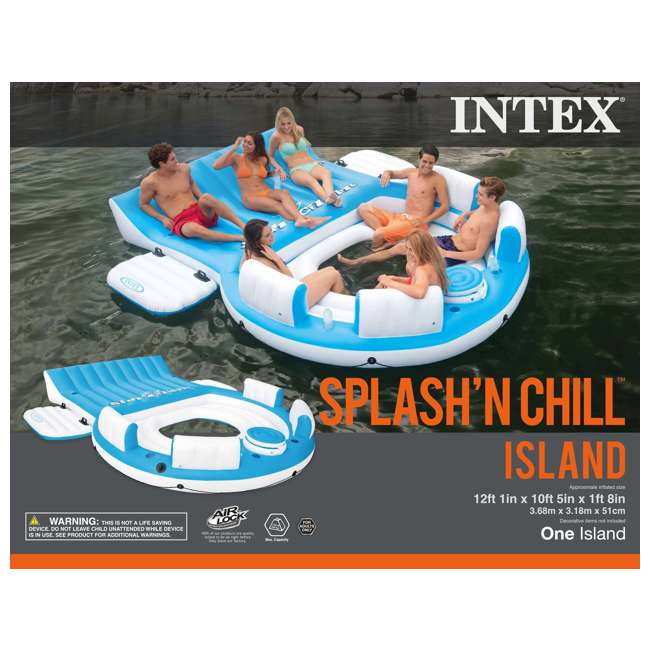 56299EP + 58821EP Intex Island Pool Lake Raft Lounger w/ Inflatable 72 Can Beverage Cooler Float 6
