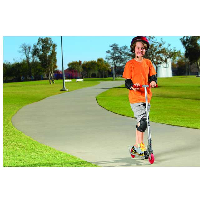 13014360 + 97778 + 96771 Razor A3 Folding Kick Scooter (Red) with Helmet, Elbow & Knee Pads 9