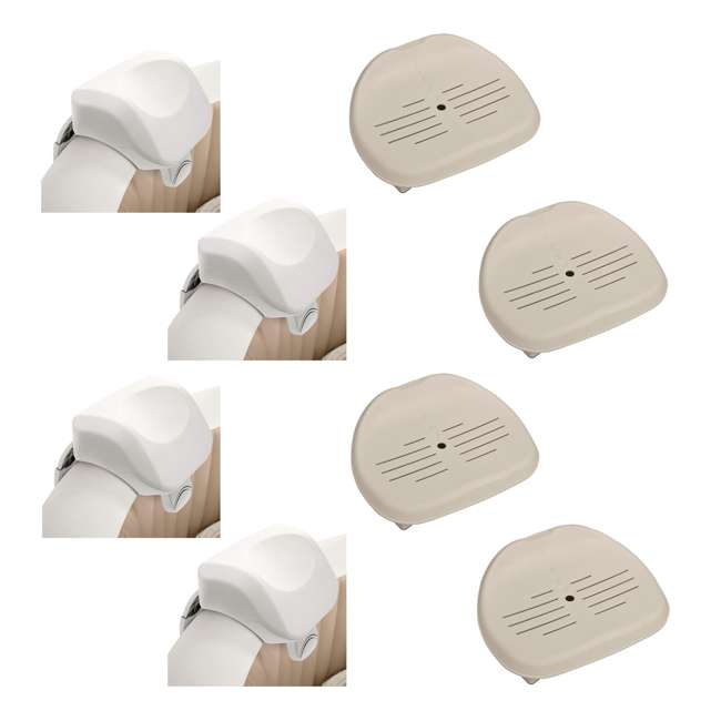 4 x 28505E + 4 x 28502E Intex PureSpa Headrest & PureSpa Hot Tub Seat (4 Pack)