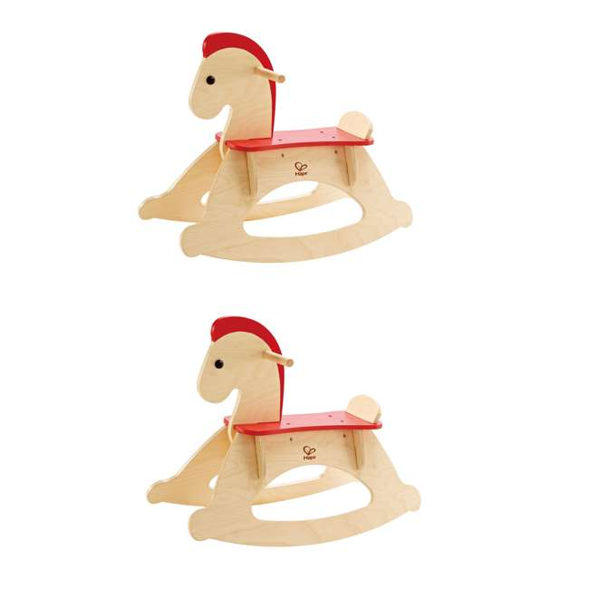 HAP-E0100 Hape Rock and Ride Wooden Toy Rocking Horse (2 Pack)