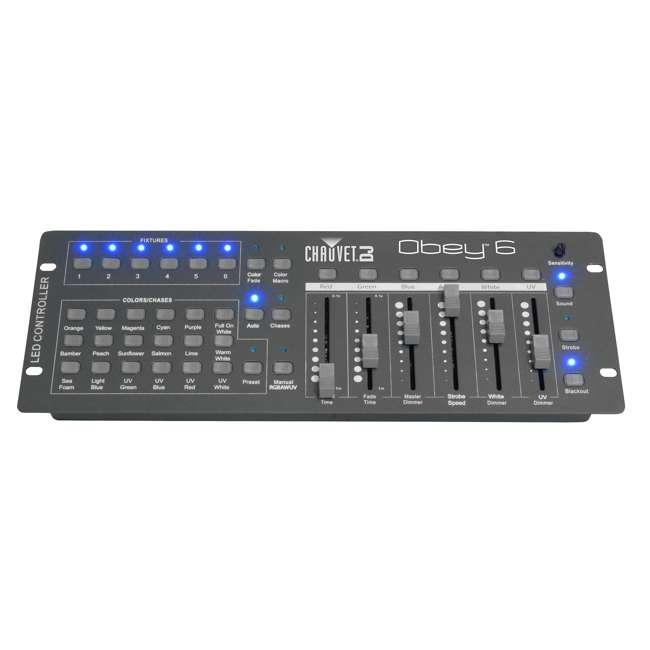 8 x SLIM-PAR56 + 8 x DMX3P10FT + F4PAR-BAG + OBEY6 Chauvet SlimPar 56 LED Par Can Lights + Obey 6 Controller + Bag + Cables 4