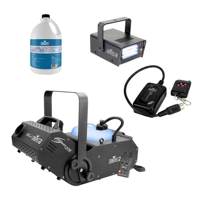 H1800FLEX + FJU + FC-W + MINISTROBE-LED Chauvet DJ Hurricane Flex Fog Machine w/ Fog Juice,Wireless Remote, Strobe Light