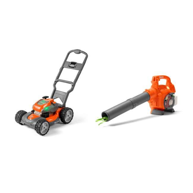 Husqvarna Battery Powered Kids Toy Lawn Mower Toy Leaf Blower