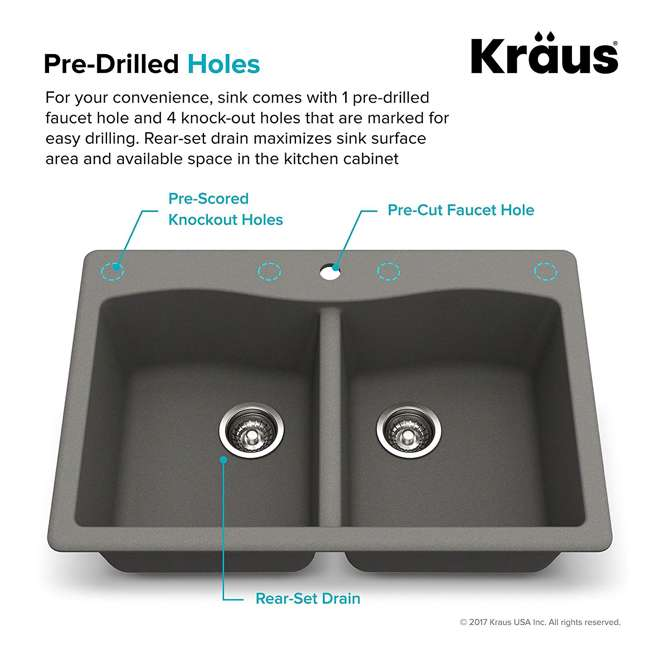 KGD-52GREY Kraus Forteza Dual-Mount Granite Kitchen Sink (2 Pack) 4
