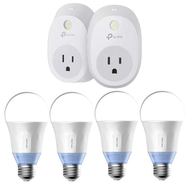TPL-HS100KIT + 4 x TPL-LB120 TP Link Wi-Fi Smart Plug Kit & 4 Smart Wi-Fi LED Bulbs