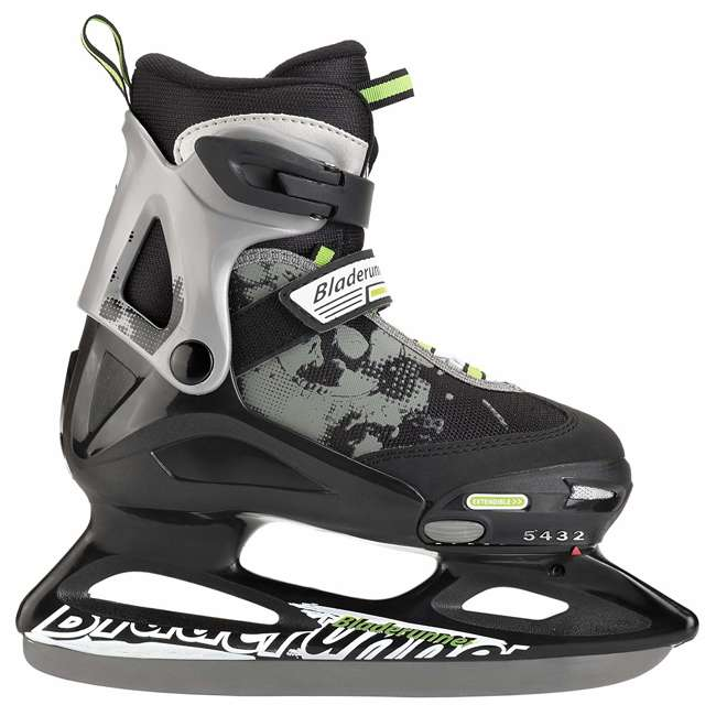 0G144400T83-M Bladerunner Micro Ice Boys Youth Adjustable Skates, Medium, Black and Green 2