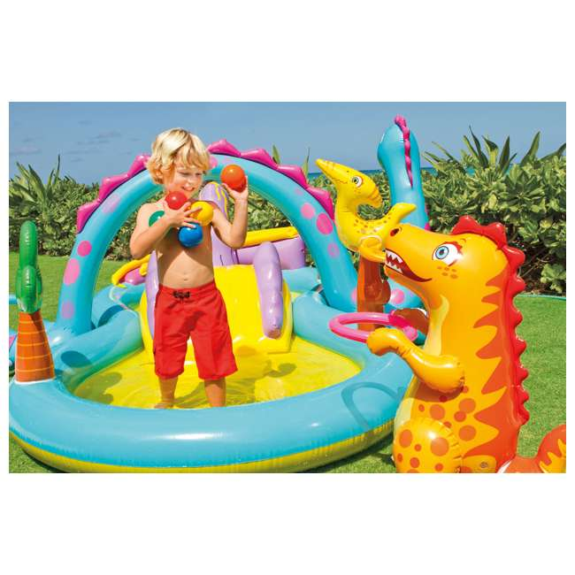 57135EP Intex Dinoland Play Center Kiddie Inflatable Slide Swimming Pool & Games (Used) 5