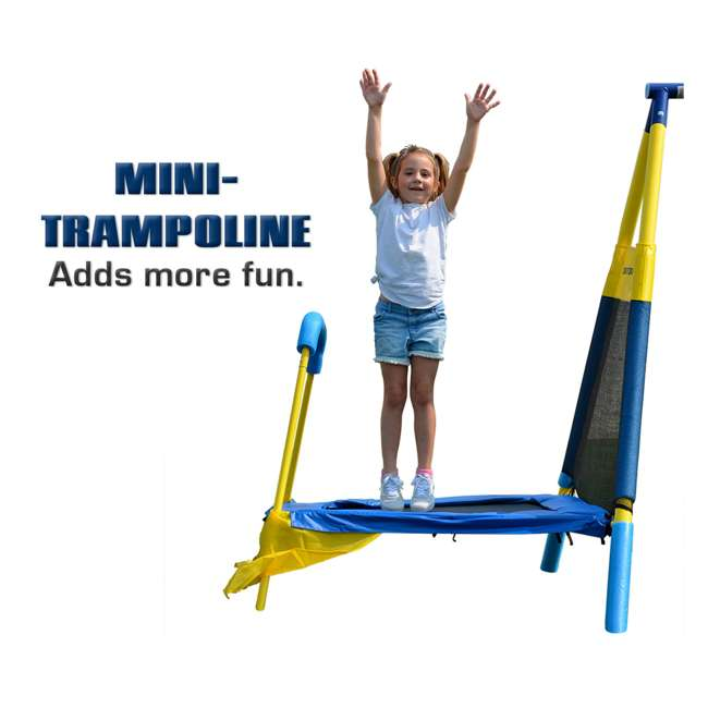 MSC-3242-BM Almansor Metal Outdoor Swing Set with Trampoline 5