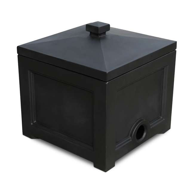 MO-5858-B Mayne Fairfield Plastic Outdoor 100 Ft Garden Water Hose Storage Box Bin, Black