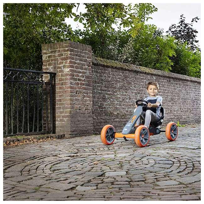 24.60.01.00 BERG Reppy Racer Kids Pedal Go Kart Ride On Toy w/ Axle Steering, Gray & Orange 6