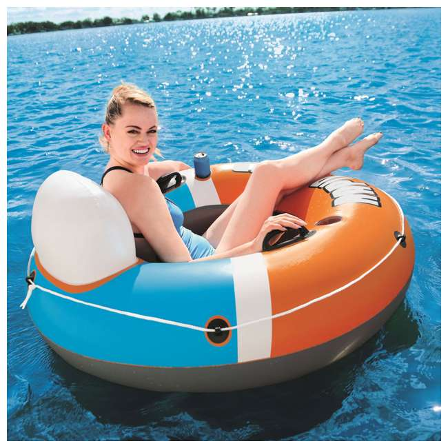 43116E-BW-NEW-U-A Bestway CoolerZ Rapid Rider Inflatable River Tube, Orange (Open Box) (2 Pack) 5