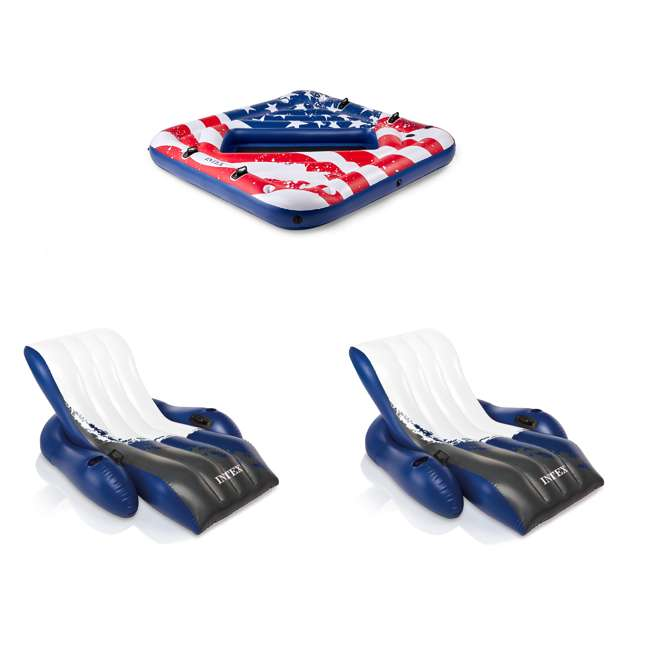57264VM + 2 x 58868EP Intex Inflatable American Flag 2 Person Pool Float w/ Intex Floating Lounge w/ Cup Holders (2 Pack)