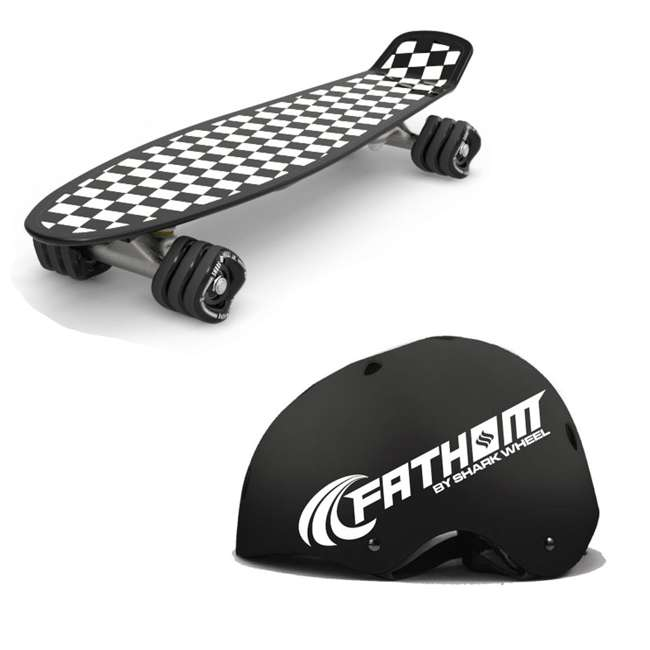 8073 + 8004 Fathom by Shark Wheel Barracuda Checkered 22 Inch Skateboard, Black and White +  M/L Helmet