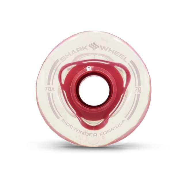 1001S70MMS78ACR Shark Wheel Sidewinder 70mm 78A Wheels, Clear with Red Hub 1