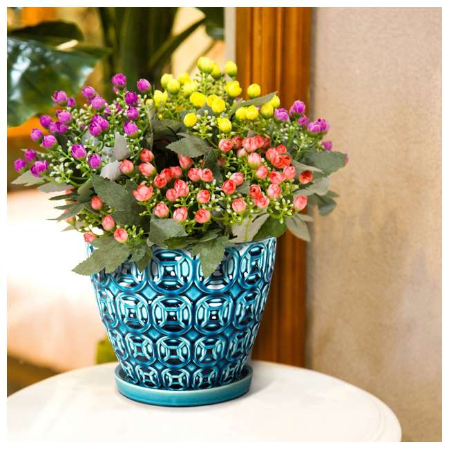 SPAT-CRM-047117 Southern Patio 12 Inch Ceramic Clay Mayer Flower Planter & Saucer Tray, Seafoam 3