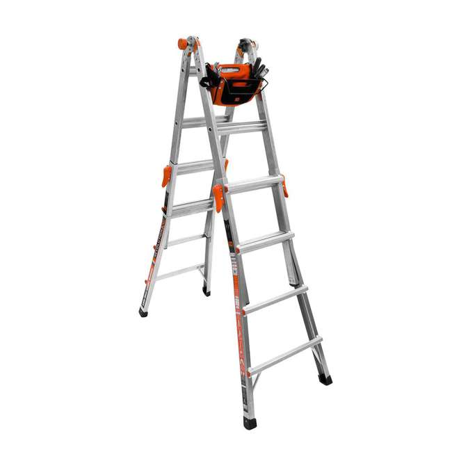 14317-001 + 15040-001 Little Giant Ladder Systems 17-Foot Aluminum Multi-Position Ladder & Tool Pouch