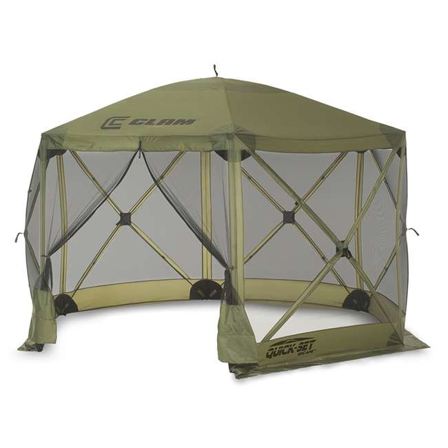 CLAM-ES-9281 + CLAM-WP-2PK-9896 Clam Quick Set Canopy Shelter + Wind & Sun Panels (2 pack) 1