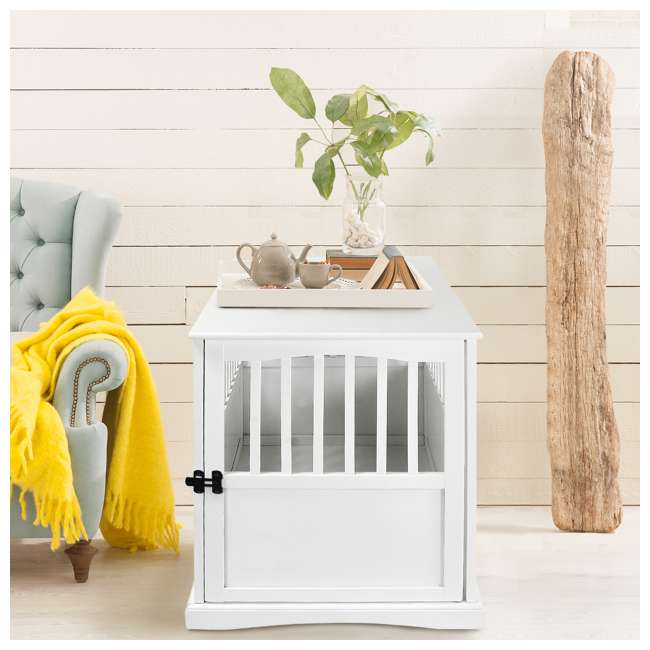 600-21 White Wooden Pet Crate End Table 27.75 Inches High 4