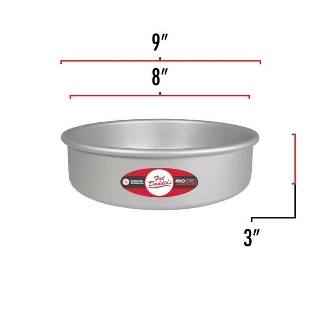 PRD-83 + PRD-63 + PRD-103 Fat Daddio's Anodized Aluminum Round Cake Pan with Solid Bottom (3 Sizes) 2