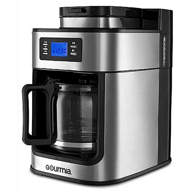 GCM4700 Gourmia Gourmet Stainless Steel Programmable Coffee Maker with Built In Grinder 1