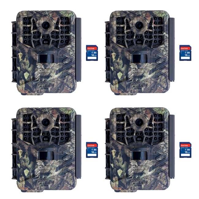 4 x COVERT-5342 + 4 x SD4-16GB-SAN Covert Black Maverick Game Hunting Camera + 16GB SD Card (4 Each)