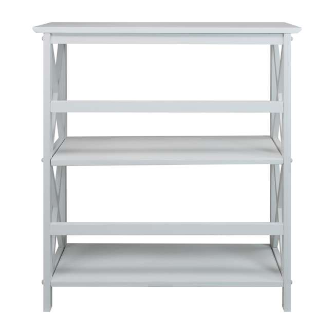 324-31 Casual Home Montego 3 Shelf X Design Folding Stackable Wood Bookcase, White  1