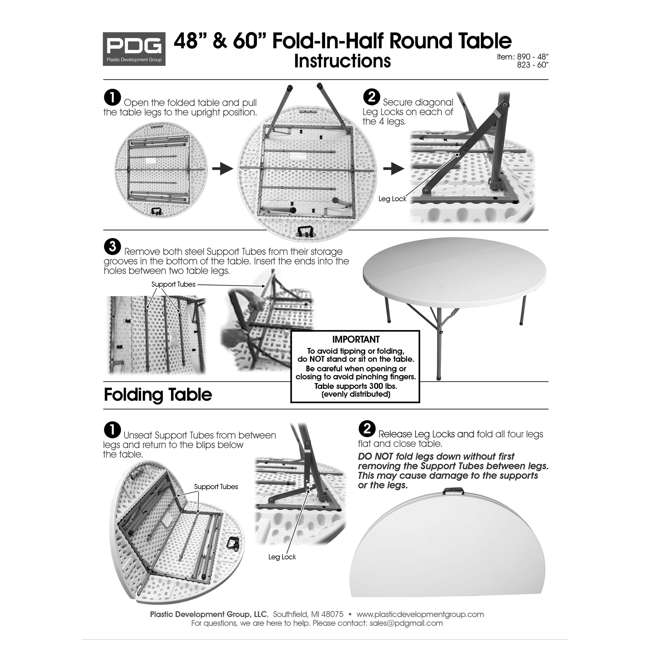 TGT8902 Plastic Development Group 4 Foot Round Fold In Half Folding Banquet Table, White 5