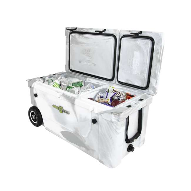 HC75-17W WYLD 75 Quart Pioneer Dual Compartment Insulated Cooler w/ Wheels, White/Grey 6
